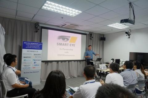 James为参会嘉宾介绍Smarteye公司和Smarteye眼动仪及应用案例