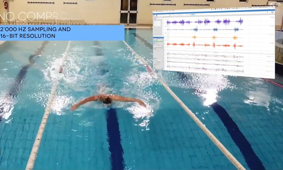 ipx7级防水EMG和IMU传感器记录游泳运动中的真实肌电数据
