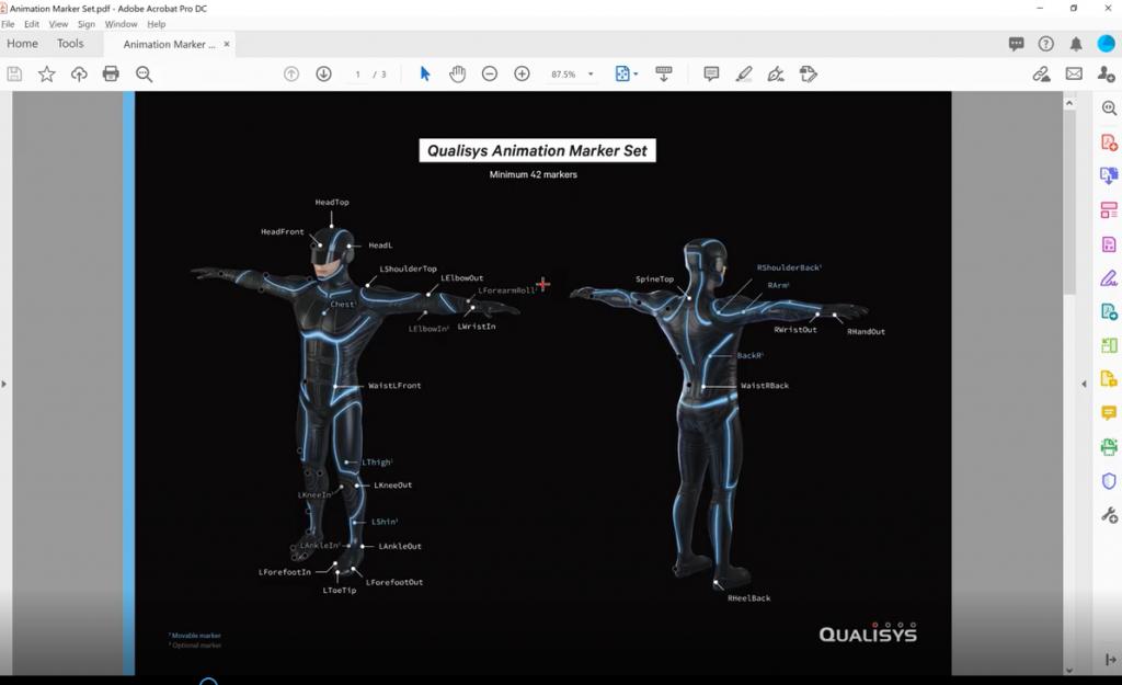 Qualisys QTM 2020功能14—使用Roll Bone标记进行精确的手臂段旋转