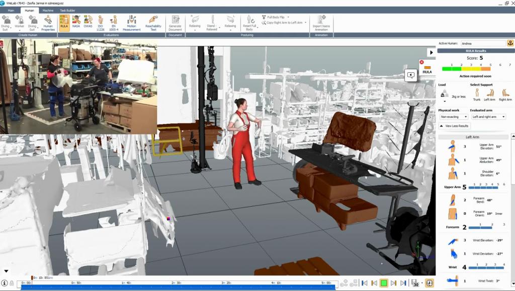 人体工学模拟软件ViveLab Ergo结合三维运动捕捉系统Xsens创建模型